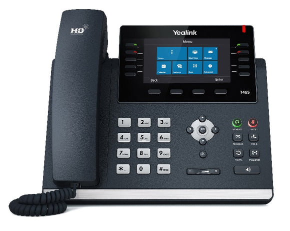 Yealink T46S (Skype for Business Edition) 16 Line IP phone, 4.3' 480x272 pixel colour display with backlight, Dual Gigabit Ports, 10 Program keys/BLF