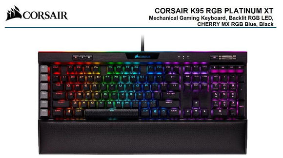 Corsair K95 RGB PLATINUM XT, Cherry MX Blue, Dynamic Per-Key RGB Backlighting with 19-Zone LightEdge, Mechanical Gaming Keyboard