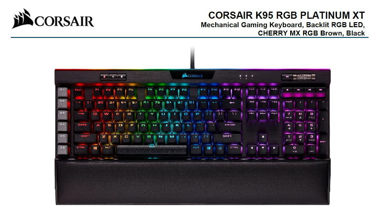 Corsair K95 RGB PLATINUM XT, Cherry MX Brown, Dynamic Per-Key RGB Backlighting with 19-Zone LightEdge, Mechanical Gaming Keyboard