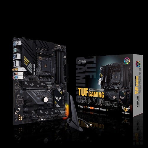 ASUS AMD B550 TUF GAMING B550-PLUS (WI-FI) ATX MB, PCIe 4.0, Dual M.2, 10 DrMOS Power Stages, 2.5Gb LAN, HDMI, DP, Wi-Fi 6