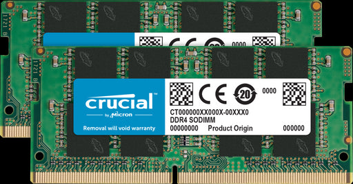 Crucial 32GB (2x16GB) DDR4 SODIMM 2666MHz CL19 1.2V Dual Ranked 2Rx8 Notebook Laptop Memory RAM