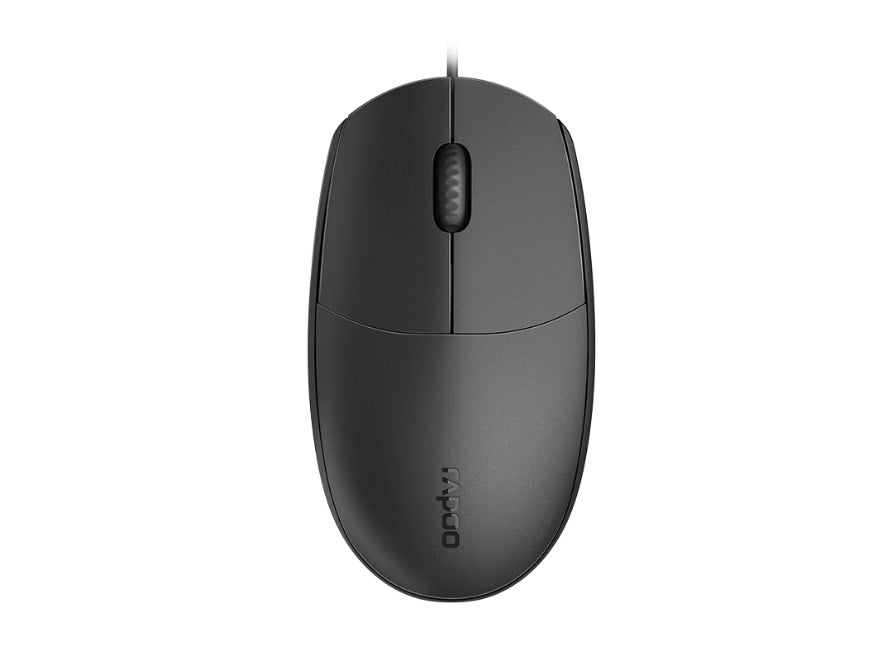 RAPOO N100 Wired USB Optical 1600DPI Mouse Black - No Driver Required/ Designed for Notebook Laptop Desktop PC ~ MOD - N1162