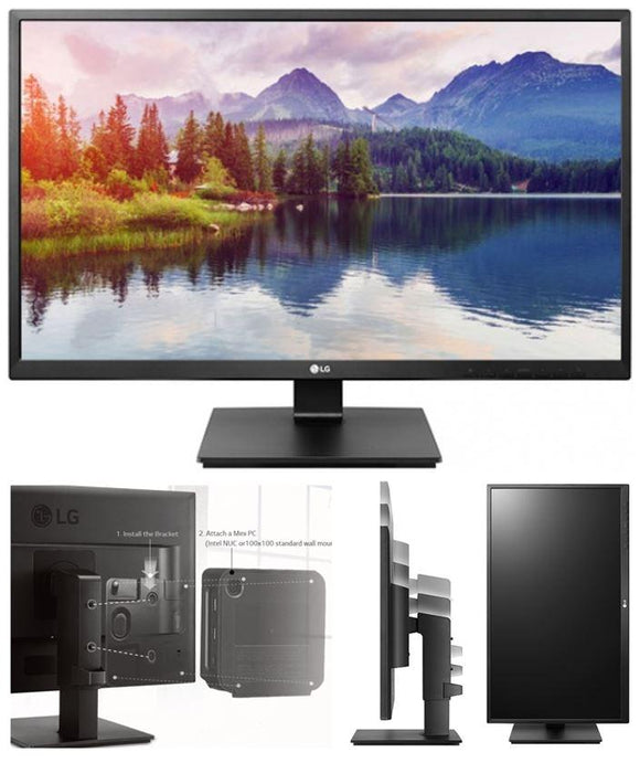 LG 23.8' IPS 5ms Business. Full HD,  Monitor w/HAS PIVOT - VGA/DVI/HDMI/DP USB Speakers VESA100mm Height Adjust Stand