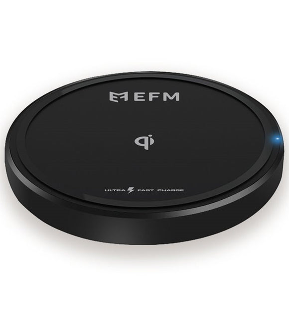 EFM 15W WIRELESS CHARGE PAD Black- Qualcomm 3.0 certified, 15W Fast Charge, Modern, compact design, Compatible with Qi-enabled smartphones