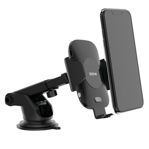 EFM AUTOMATIC WIRELESS CAR CHARGING MOUNT Black- Automatic grip mechanism, EFM 39W Car Charger & 1.1m Type C to USB Charge Cable included