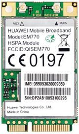 Huawei 3G Int Modem EM770 Internal mini PCI card