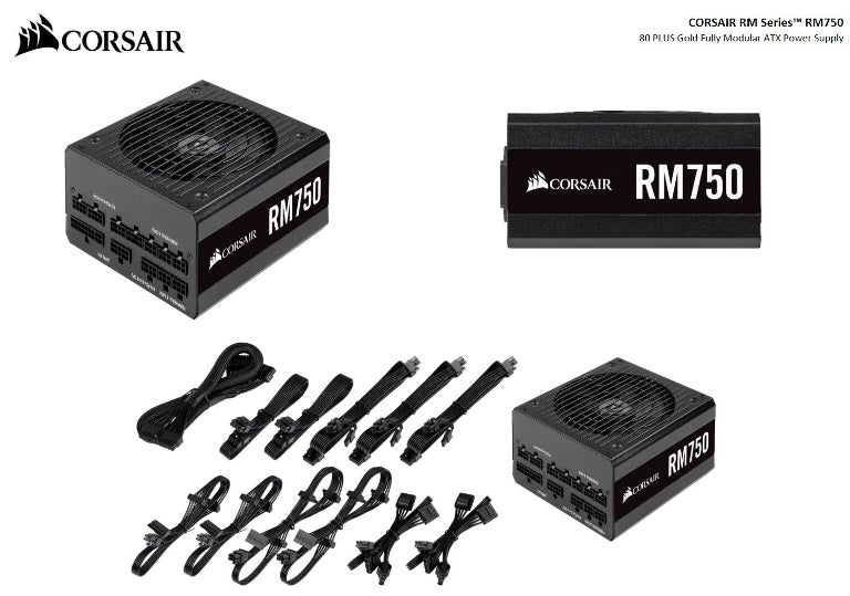 Corsair 750W RM 80+ Gold Fully Modular 135mm FAN ATX PSU 10 Years Warranty