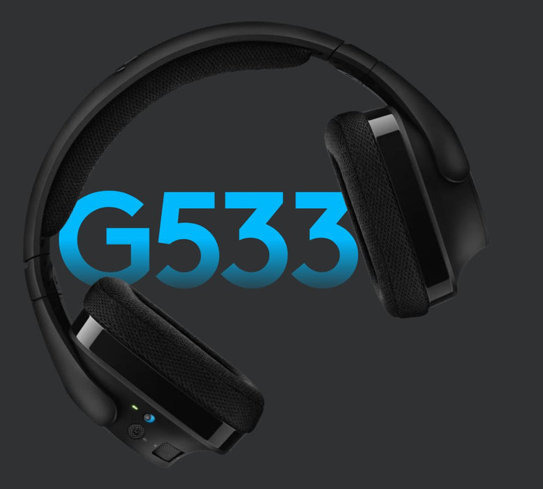 Logitech G533 DTS Headphone:X 7.1 Wireless Surround Gaming Headset Pro-G™ Audio Gaming Performance 15 Hour Battery Life Noise-Cancelling
