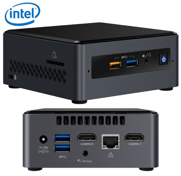 Intel NUC mini PC J4005 2.7GHz 2xDDR4 SODIMM 2.5' HDD 2xHDMI 2xDisplays GbE LAN WiFi BT 4xUSB3.0 2xUSB2.0 for Digital Signage POS no power cord