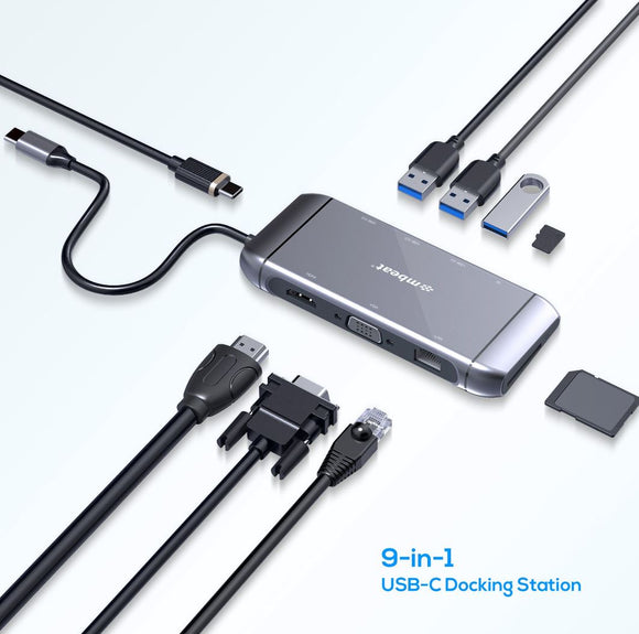 mbeat Elite X9 9-in-1 Multifunction USB-C Docking Station HDMI, VGA, USB-C PD, USB 3.0 x 3