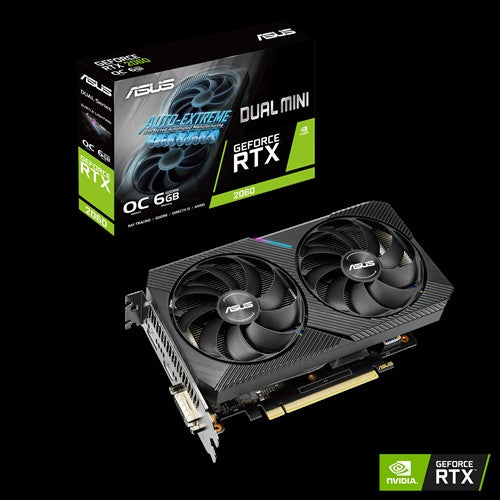 ASUS nVidia DUAL-RTX2060-O6G-MINI GeForce RTX 2060 Mini OC Edition 6GB GDDR6 1755 Boost 1xDP/1xHDMI/1xDVI