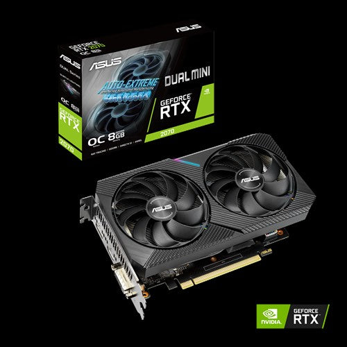 ASUS nVidia DUAL-RTX2070-O8G-MINI GeForce RTX 2070 Mini OC 8GB GDDR6, 1680 Boost 1xDP/HDMI/DVI, Compact Size For NUCs/Small Chassis