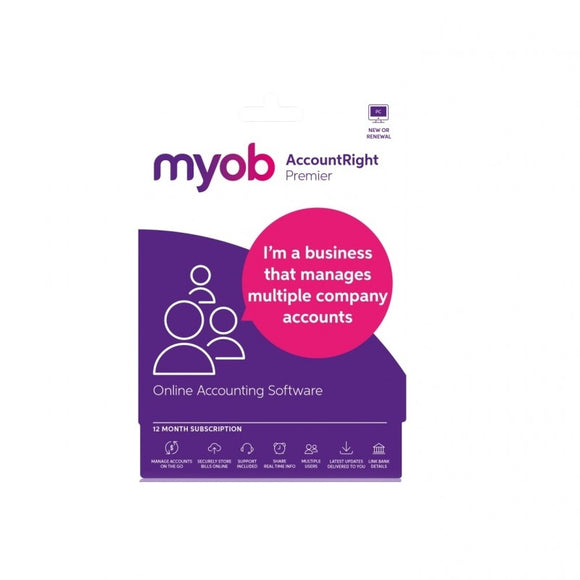 * KEY ONLY * MUSUB-RET-A MYOB AccountRight Premier 1YR SUB