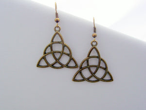 Irish Trinity Celtic Knot Earrings Eternity Knot Earrings Triquetra Earrings Antique Bronze