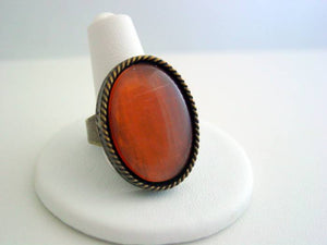 Orange Cat's Eye Engraved Ring Antique Bronze Oxidized Finish