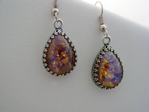Fire Opal Amethyst Earrings Crown Setting Vintage Glass Cabochon Earrings