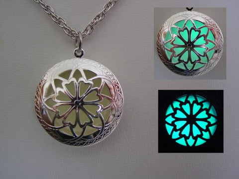 Glow In The Dark Silver Open Petal Flower Necklace ~ Locket Bright Aqua Glow