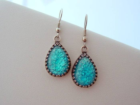 Aqua Blue Fire Opal Vintage Glass Crown Earrings