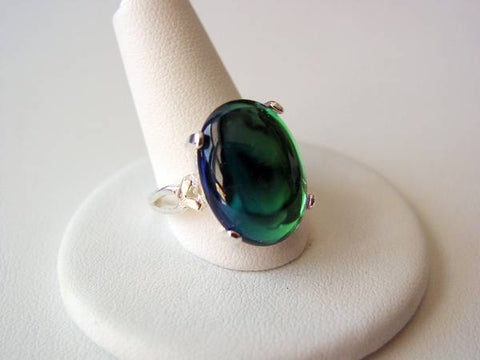 Sterling Silver Ring Bermuda Blue Artisan Bezel Ring Rainbow Colors