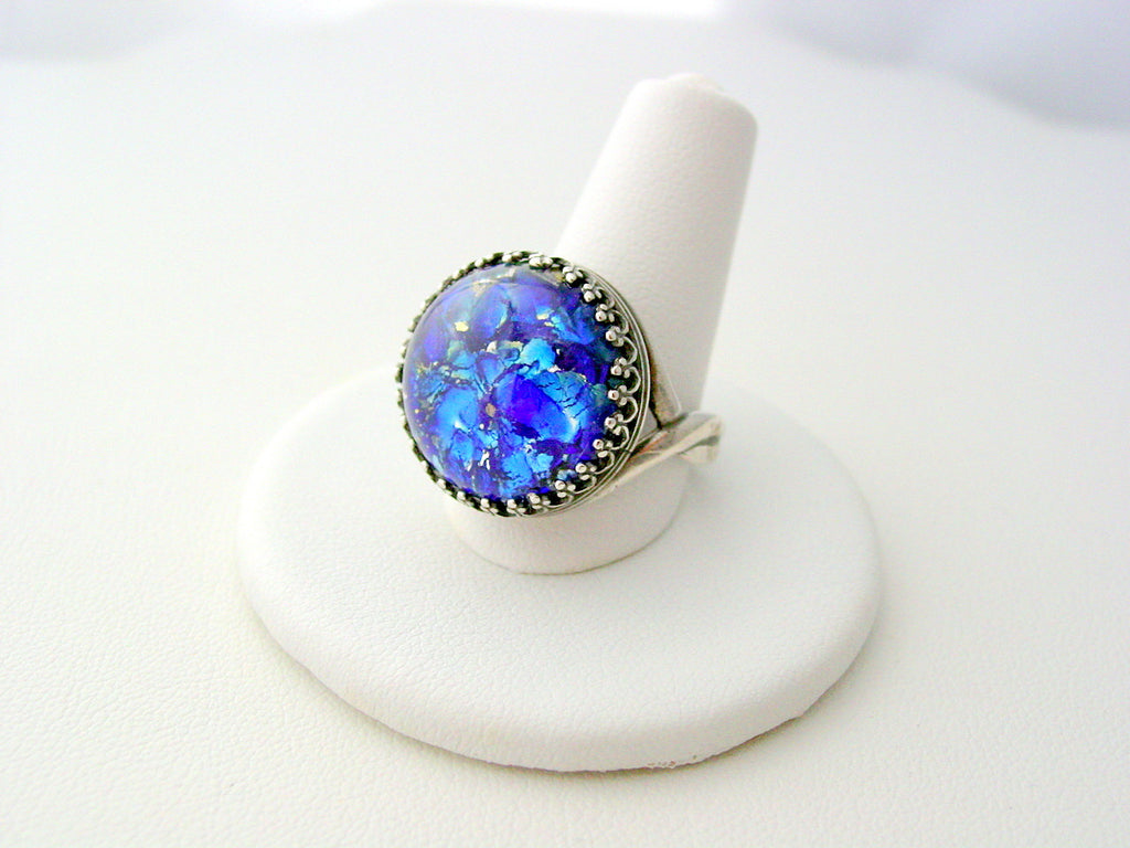 Fire Opal Sea Blue Vintage Glass Crown Style Open Band Fire Opal Oxidized Finish Ring