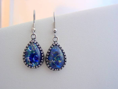Fire Opal Earrings Sea Blue Earrings Crown Setting
