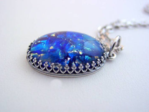 Fire Opal Necklace Sea Blue Vintage Fire Opal Crown Design Necklace Fire Opal Pendant