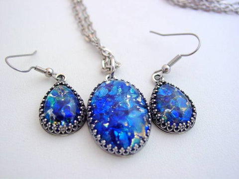 Fire Opal Earrings Necklace Set Sea Blue Crown Style Necklace & Earring Set
