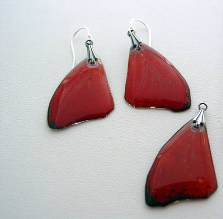 Butterfly Earrings & Necklace Set Red African Sterling Silver Real Butterfly Wings Sterling Silver Nature Jewelry Set