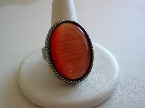 Orange Cat's Eye Engraved Ring Antique Silver Oxidized Finish