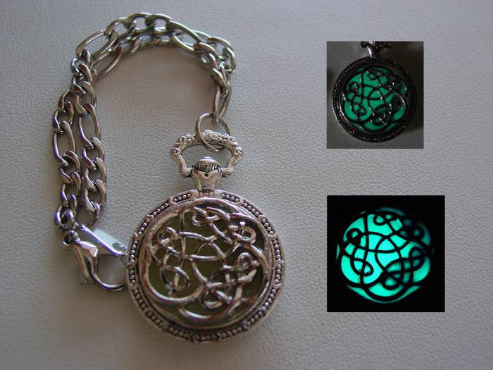 Celtic Riddle Knot Necklace Glow In The Dark Charm Bracelet ~ Glowing Charm Bracelet Bright Aqua Glow