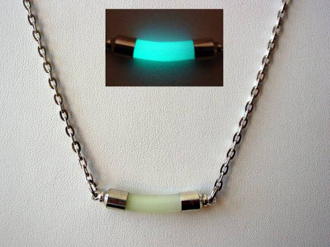 Glow In The Dark Dance Club Necklace ~ Dance Club Pendant Glows Aqua