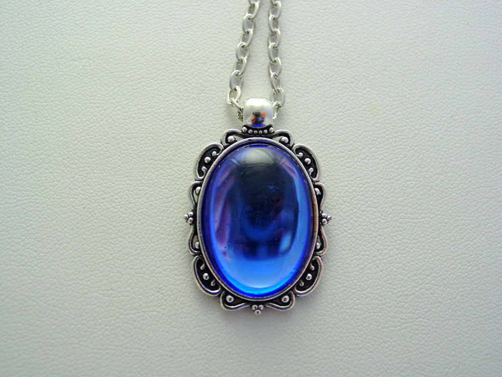 Cobalt Blue Vintage Czech Smooth Glass Oval Filigree Picture Frame Style Necklace