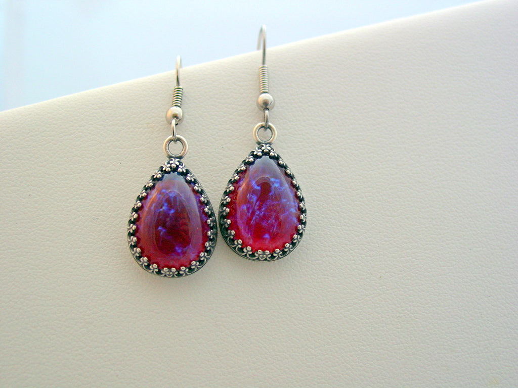Dragon's Breath Mexican Opal Vintage Glass Cabochon Crown Earrings