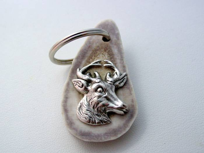 Sterling Silver Deer Head Keychain Real Deer Horn Antler Bone Sterling Silver Deer Head Keychain