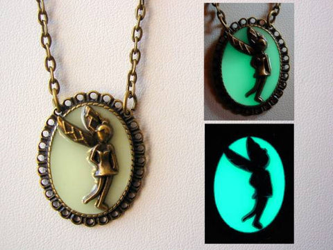 Glow In The Dark Fairy Necklace ~ Fairy Pendant Glows Aqua