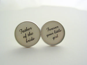 Wedding Gift Father Of The Bride Forever Your Little Girl Cufflinks