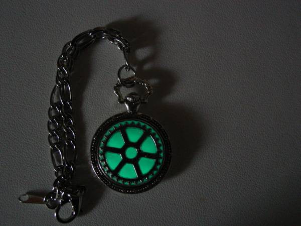 Steampunk Gear Head Bracelet Aqua Glow In The Dark Bracelet