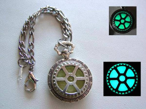 Glow In The Dark Steampunk Gear Head Charm Bracelet ~ Glowing Charm Bracelet Bright Aqua Glow