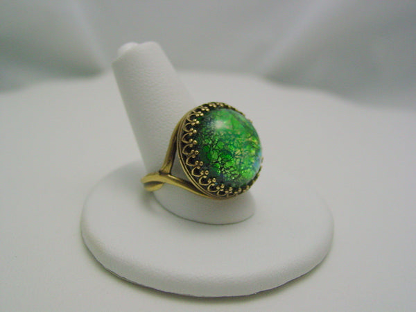 Green Fire Opal Crown Ring Crown Design Antique Bronze Ring