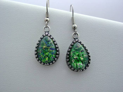 Emerald Fire Opal Earrings Crown Setting Earrings Oxidized Finish