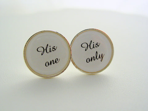 Wedding Gift From Bride To Groom His One His Only Cufflinks Dress Clips