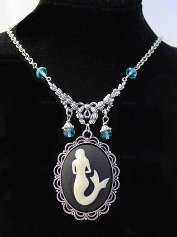 Mermaid Cameo Necklace Siren of the Sea Oxidized Finish Aqua Drop Beads Necklace