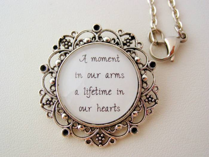 A Moment In Our Arms A Lifetime In Our Hearts Floral Filigree Necklace or Keychain Memorial Jewelry