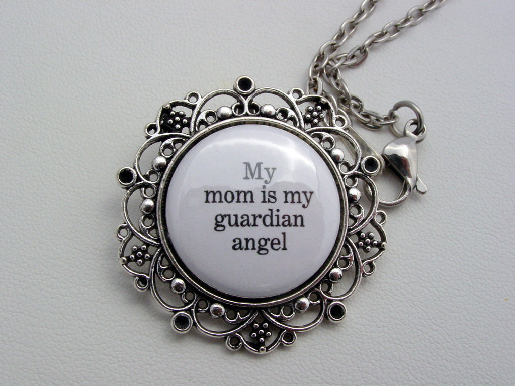 My Mom Is My Guardian Angel Floral Filigree Necklace or Keychain Memorial Jewelry