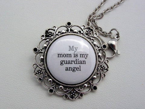 Memorial Jewelry My Mom Is My Guardian Angel Necklace or Keychain
