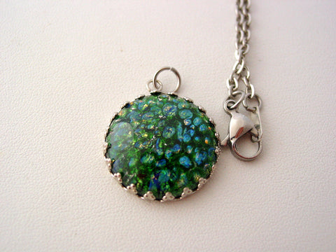 Emerald Fire Opal Necklace Crown Style Setting Necklace OOPS!