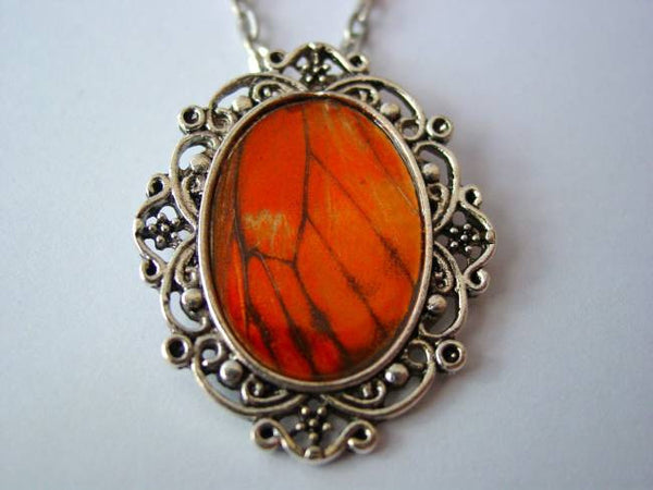 Butterfly Wing Necklace Gulf Fritillary Butterfly Wing Floral Filigree Necklace or Keychain