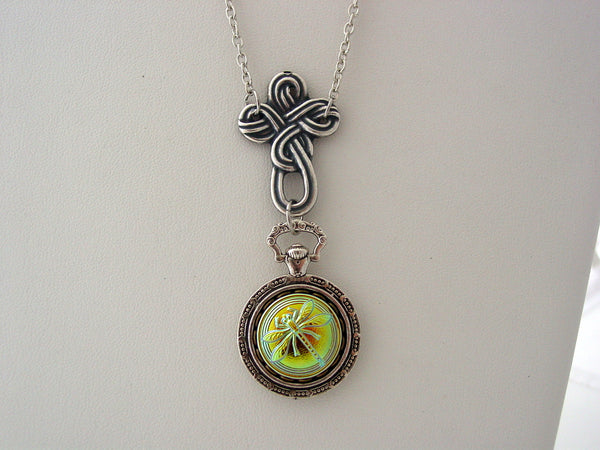 Celtic Cross Necklace Iridescence Jet Green Purple Vitrail Glass Dragonfly Pocket Watch Setting