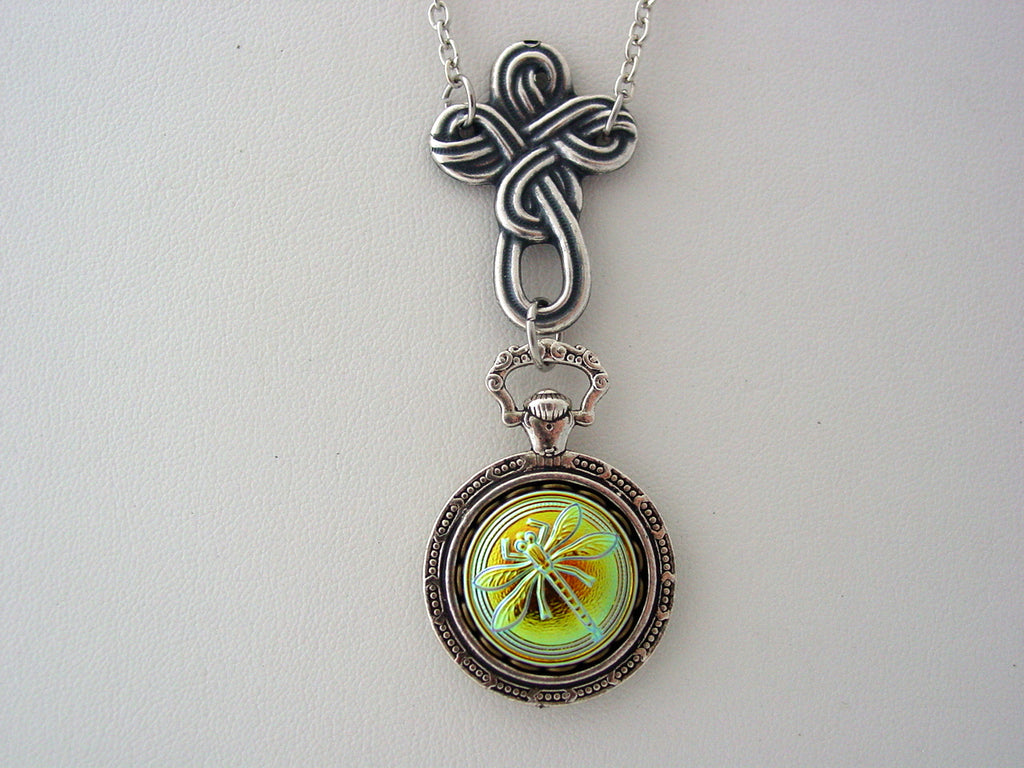 Celtic Cross Iridescence Jet Green Purple Vitrail Glass Dragonfly Pocket Watch Setting