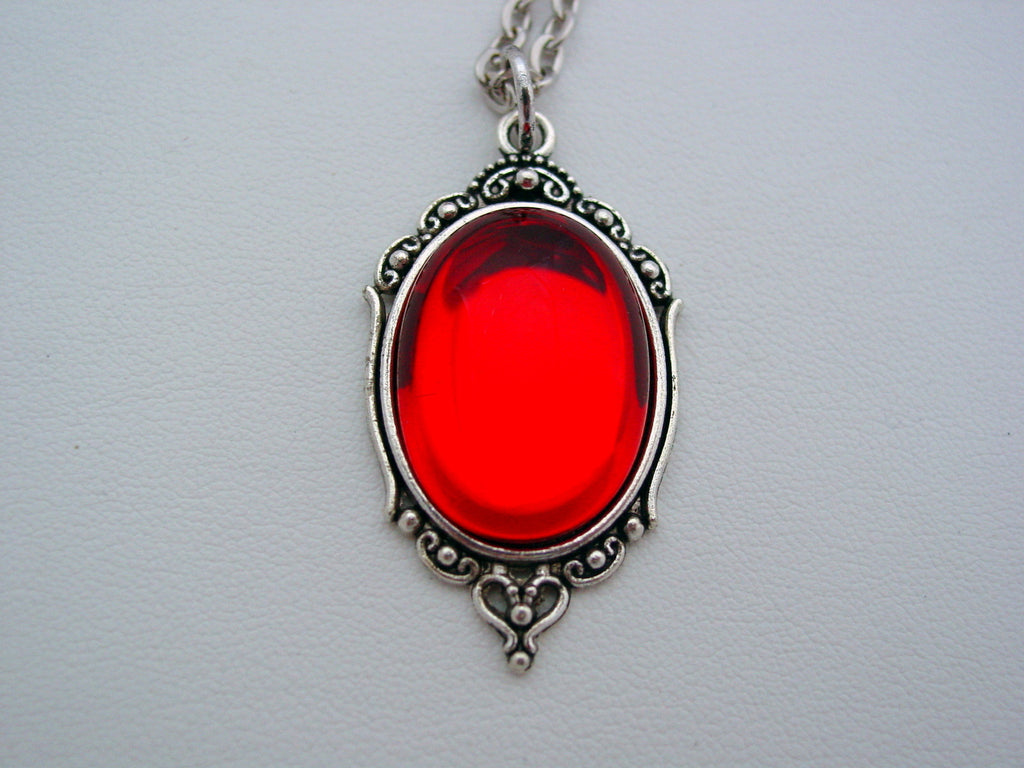 Deep Ruby Red Vintage Czech Smooth Glass Art Nouveau Picture Frame Style Necklace